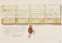 754 Facsimile van een deel van een charter, een verdrag van erfpacht tussen Gillis van der Boede en de gasthuismeesters ...