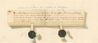 755 Facsimile van een deel van een charter, een kennisgeving van Clais Bollaerd, kanunnik van de Abdij van Middelburg ...