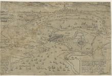 76 Kaart van het beleg van Antwerpen, met opschrift (Nederlands, Frans) rechtsonder, Duits linksonder, oriëntatie ...