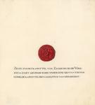761 Het zegel van het kapittel van Sandenburgh bij Veere van een kwitantie van het kapittel, met drie-regelig ...