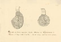762 Twee zegels van het klooster en de abdis van Waterlooswerve onder een brief van de abdis Margrieta Borbon en de ...