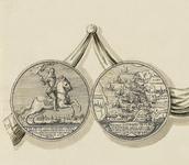 830-1 De penning (voor- en keerzijde), geslagen bij de overwinning van de Zeeuwen onder M. Hollare op de Spanjaarden in ...