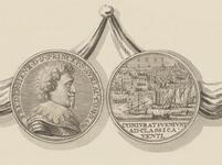 830-2 De penning (voor- en keerzijde), geslagen bij de overwinning van de Zeeuwen onder M. Hollare op de Spanjaarden in ...