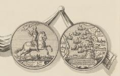 830-4 De penning (voor- en keerzijde), geslagen bij de overwinning van de Zeeuwen onder M. Hollare op de Spanjaarden in ...