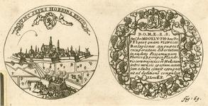 833 De penning (voor- en keerzijde), geslagen op de verovering van Hulst door prins Frederik Hendrik op de Spanjaarden