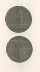 848 De penning (voor- en keerzijde), geslagen ter gelegenheid van de onthulling van het standbeeld van Michiel ...