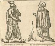 890 Een man en een vrouw in Zeeuwse klederdracht, met onderschrift (Frans)