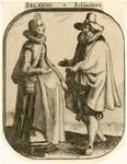 891 Een vrouw en een man in Zeeuwse klederdracht, met opschrift (Italiaans/Nederlands)