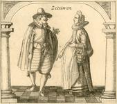 892 Een man en een vrouw met mandje in Zeeuwse klederdracht tussen pilaren op tegelvloer, met opschrift