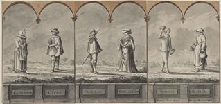 893 Een burger, edelman en landman en hun vrouwen uit Zeeland, in een landelijke omgeving
