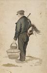 898-1 Een man met dode fazant aan een stok en mand