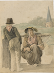 898-11 Een vrouw op de knieën met juk, pratend met een man, op de rug gezien, op de achtergrond een kerktoren