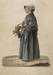 898-9 Een boerenvrouw uit Cadzand met een mand met groente