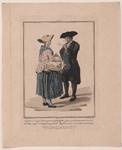 899 Een Walcherse boer en boerin, met tweeregelig onderschrift (Nederlands/Frans) over de Anneliesjesmarkt