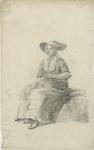 903-10 Een Walcherse vrouw met een mand en een hoed, zittend