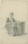 903-48 Een Walcherse vrouw, zittend met mand bij steen