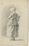 903-5 Een Walcherse vrouw, met een hoed en een mand, op de rug gezien