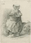 903-7 Een Walcherse vrouw met een mand en een hoed, zittend