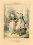 904 Een groentenkoopvrouw met mand en juk en een boerin van Walcheren, met 2-regelig onderschrift (Frans)