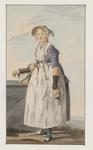 905 Een jonge boerin van Walcheren, staand met een mand