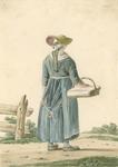 906 Een jonge boerin van Walcheren, staand met een mand, van achteren gezien