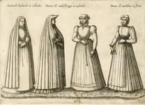 924 Vrouwen in kostuums van Dordrecht, Middelburg en Embden in Friesland, met opschrift (Latijn)