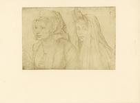 930 Een vrouw uit Bergen (op Zoom) en een meisje uit Goes, kop en schouders