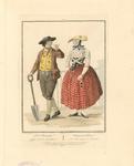 932 Een boer met schep en boerin uit Zuid-Beveland, met tweeregelig onderschrift (Nederlands/Frans)