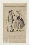 933 Een boer met schep en boerin uit Zuid-Beveland, met tweeregelig onderschrift (Nederlands/Frans)
