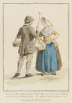 949 Een boer met stok en mand en boerin met mand uit Schouwen in afspraak om naar de markt te Zierikzee te gaan, met ...