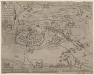 95 Kaart van Hulst en omgeving in vogelvlucht met de polders, schansen en dijken, waarop aangegeven de overgave van de ...