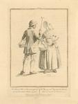 950 Een boer met stok en mand en boerin met mand uit Schouwen in afspraak om naar de markt te Zierikzee te gaan, met ...