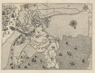 96 Kaart van Hulst en omgeving tijdens het beleg en de verovering door de Spanjaarden, oriëntatie zuidwesten boven