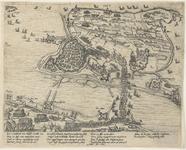 97 Kaart van Hulst en omgeving tijdens het beleg door de Spanjaarden, met de bestorming van de Begijnepoort (1 aug.), ...