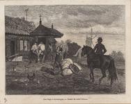 974g Een smederij te Kruiningen met een windwijzer op het dak en de smid een paard beslaand in de travalje