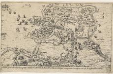98 Kaart van Hulst en omgeving tijdens het beleg door de Spanjaarden, met de bestorming van de Begijnepoort (1 aug.), ...
