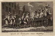 988 De leden van de Rederijkerskamer Het Bloemken Jesse op een kar te Middelburg, begeleid door muziek, met éénregelig ...