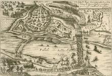99 Kaart van de verovering van de stad Hulst door de Spanjaarden onder kardinaal Arciduca, strijd voor de stad tegen de ...