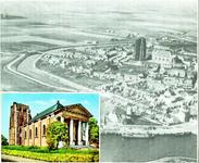 143-57 De binnenstad van Zierikzee vanuit de lucht met links onder inzet van de Nieuwe Kerk met de Sint Lievensmonstertoren