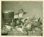 313 Stilleven met gevogelte, groente en vis op tafel / A.P. de Stoppelaar. 15 juni 1843. 1 tekening : krijt, in zwart, ...