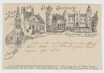 100 Het raadhuis, kasteel Westhove en de kerk te Domburg, naar tekeningen van W.J. van N.-R
