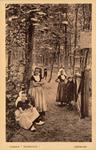 10058 Kinderen (waaronder in klederdracht) bij het toegangshek van het landgoed Hoogduin te Domburg, met een bord met ...