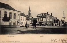 10216 Gezicht op de Markt te Terneuzen met Hotel de Commerce en café-restaurant (hotel) Centraal