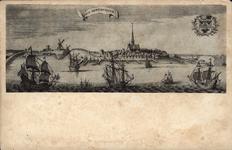 10375 Gezicht op de oude stad Arnemuiden (fantasie), met schepen en wapen van Arnemuiden