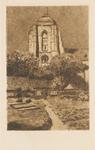 1052 De grote kerk te Veere gezien vanuit een tuin van een huis aan de Wagenaarstraat
