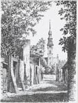 1100 Gezicht op het stadhuis te Veere naar een pentekening van Pieter J. van Dokkum
