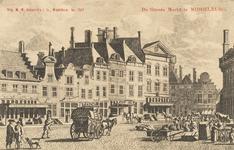 1611 Gezicht op de Grote Markt te Middelburg, tussen de Vlasmarkt en de Pottenmarkt. Naar een kopergravure in W.A. ...