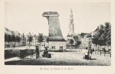 1706 De kraan aan de Dam Noordzijde te Middelburg, met erachter de graanbeurs en de Abdijtoren.Naar steendruk circa 1850