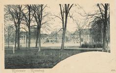 1717 Gezicht op het Molenwater te Middelburg met op de achtergrond de schouwburg en de gasfabriek