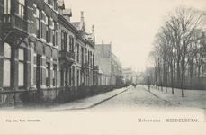 1730 Gezicht op het Molenwater te Middelburg in de richting van de schouwburg